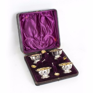 Antique Victorian Set of 4 silver gilt salts with spoons 1897