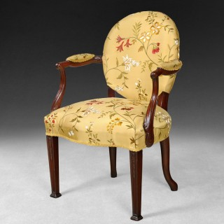 Early Hepplewhite Period Carved Mahogany Salon Armchair