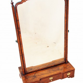 Antique 18th Century Walnut Dressing Table Mirror