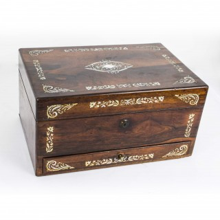 Antique Victorian Rosewood & Mother of Pearl Box c.1860