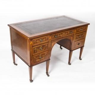 Antique Edwardian Inlaid Desk Shoolbred c.1890