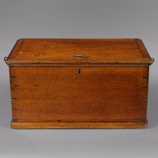 A rare late 18th. century oak Churchwardens' box