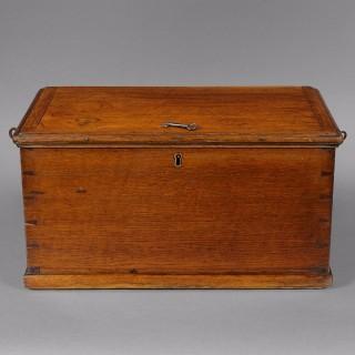 A rare late 18th. century oak Churchwardens' box