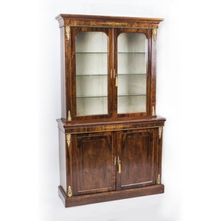 Antique Burr Walnut & Inlaid Bookcase Display Cabinet c.1860