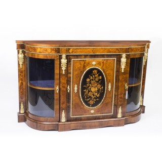 Antique Victorian Burr Walnut Marquetry Ormolu Mounted Credenza c.1850