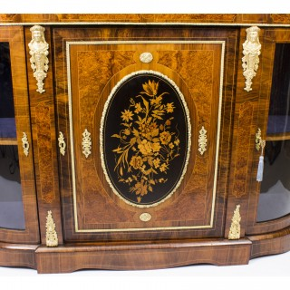 Antique Victorian Burr Walnut Marquetry Ormolu Mounted Credenza c.1850
