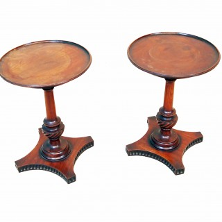 Antique 18th Century Mahogany Pair Of Candlestands