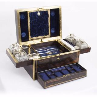Antique English Coromandel & Silver Dressing Case T Dalton 1849