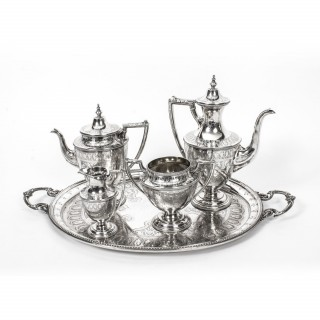Antique Silver 5 piece Tea Coffee Service & Tray Martin Hall 1874
