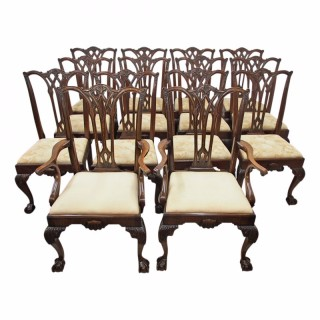 Set of 14 Oak Chippindale Dining Chairs