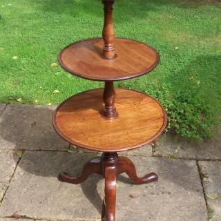 18th Century George III Period Mahogany Antique Tripod Dumb Waiter Whatnot Three Tier Table