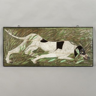 A 20th Century Studio Pottery Tile Picture of a Pointer in Scrub
