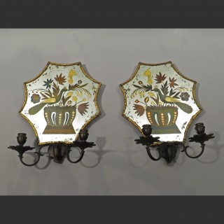 A Pair of Late 19th Century Reverse Glass Painted Mirrored Wall Sconces