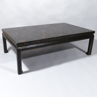 An Early 20th Century Black Laquered Chinese Gilded Coffee Table