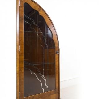 Antique Art Deco Walnut Display Cabinet/Bookcase c.1920