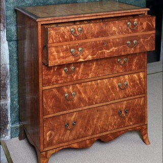 A late George III satinwood Secretaire Chest