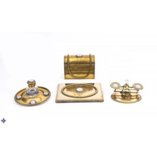 Antique Brass & Jasperware Desk Set James Howell 19th C