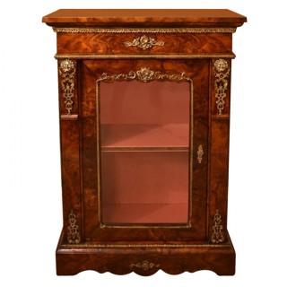 Antique Victorian Burr Walnut Pier Cabinet c.1870