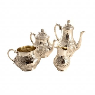 Antique English Silver Rococo Tea & Coffee Set 1884
