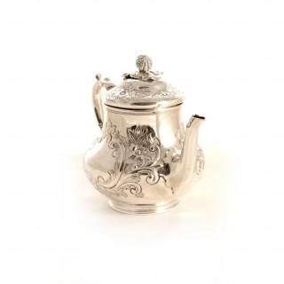 Antique English Silver Rococo Tea & Coffee Set 1884