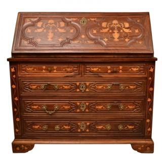 Antique Spanish Walnut Marquetry Bureau c.1780