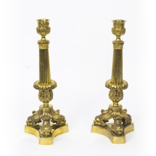Antique Pair of Louis XIV Style Gilt-Bronze Candlesticks C1840