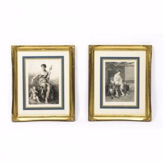 Antiques Pair Classical Prints by Pierre Olivier Joseph Coomans c. 1860