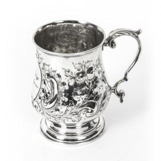 Antique Victorian Silver Plated Embossed and Engraved Mug C1870