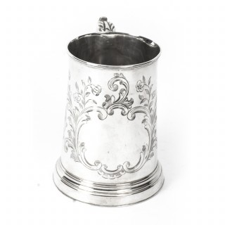 Antique Victorian Silver Plated & Engraved Mug C1870