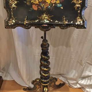 A Victorian inlaid papier mache reading music stand