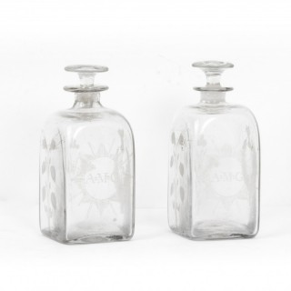 Antique Pair of Etched Glass Decanters Thistles c.1900