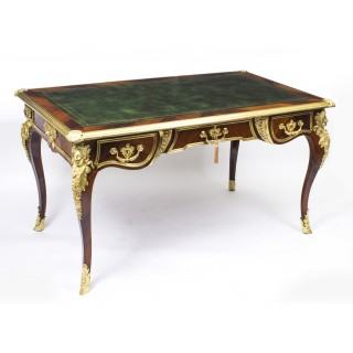 Antique French Ormolu Mounted Louis Revival Bureau Plat Desk c1860