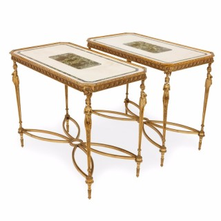 Neoclassical style pair of antique French rectangular centre tables after Adam Weisweiler