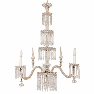 Belle Epoque style antique Bohemian cut glass chandelier