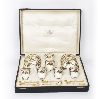Antique Royal Worcester Coffee Set & Silver gilt spoons x 6 Cased 1915