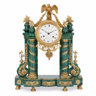 Malachite and ormolu Louis XVI period antique French mantel clock