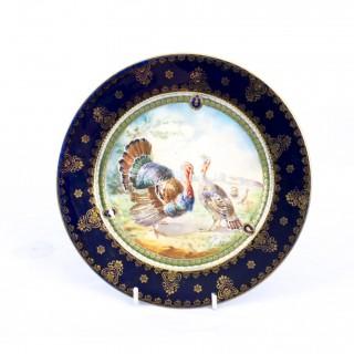 Antique Vienna Porcelain Cabinet Plate Turkeys c.1900