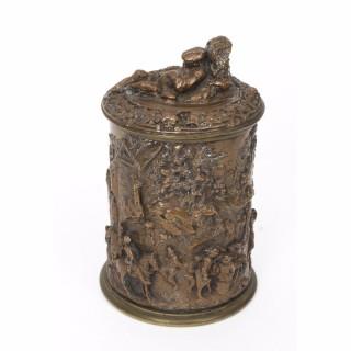 Antique Copper & Bronze Bacchanalian Tobacco Jar C 1860