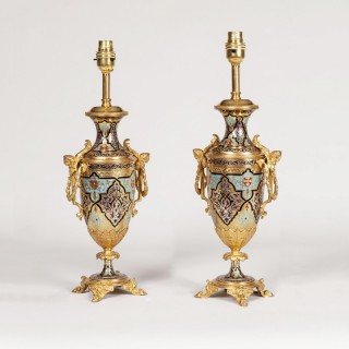 Pair of Enamel Arabesque Table Lamps