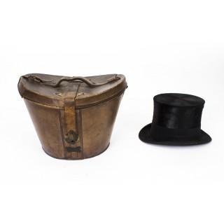 Antique Black Silk Top Hat in Leather Case W. MacQueen C1880