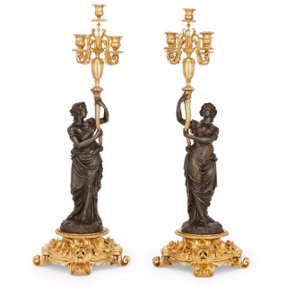 Large pair of antique French gilt and patinated bronze  candelabra by Henri Picard
