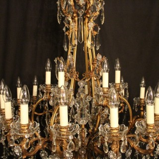French Bronze 24 Light Antique Chandelier