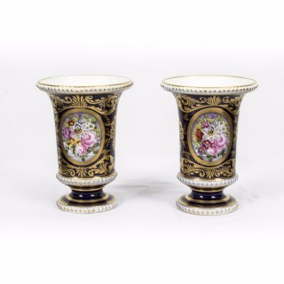 Antique Pair Royal Blue Derby Spill vases c 1900