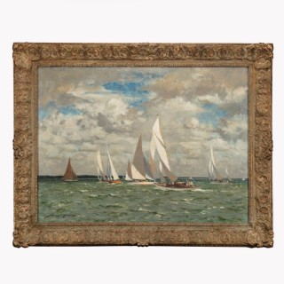 An oil painting of yachts racing in Portland harbour