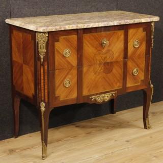 20th Century French Inlaid Dresser With Golden Bronzes