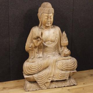 20th Century Oriental Buddha Sculpture In Wood