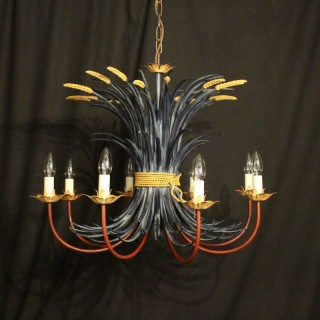 French Polychrome Toleware 8 Light Chandelier