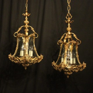 Italian Pair 4 Light Bronze Cherub Lanterns