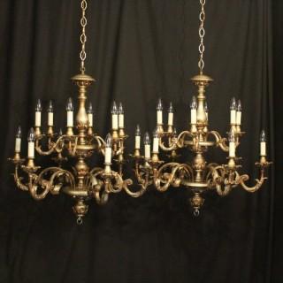 Florentine Pair Of 12 Light Chandeliers