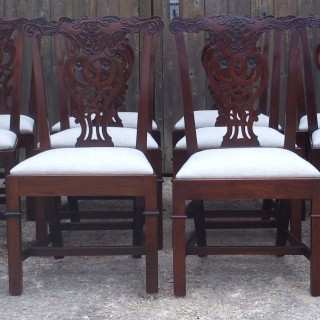 19th Century Victorian Set of 12 Antique Mahogany Chippendale Dining Chairs